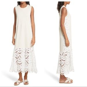 See By Chloe Eyelet Lace Trim Hem Dress Ivory